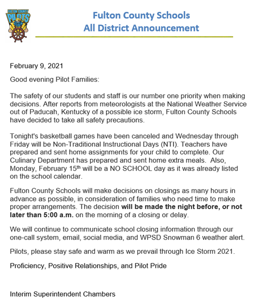 All District Announcement